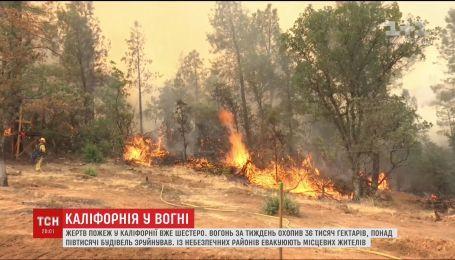 Лісові пожежі у Каліфорнії не вщухають, загинуло шестеро людей