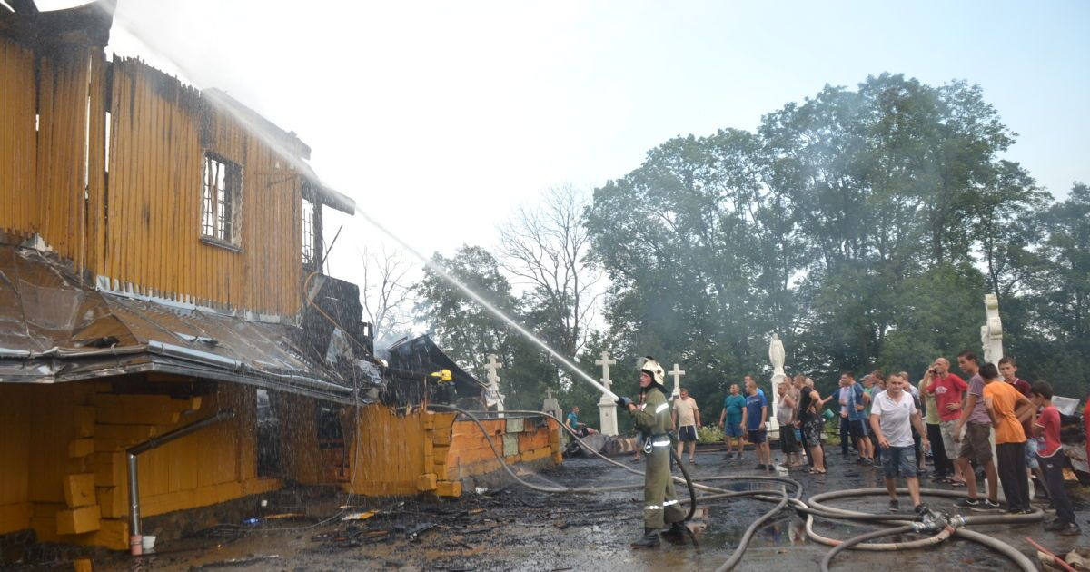 Пожарные спасли церковь от уничтожения @ ГСЧС во Львовской области
