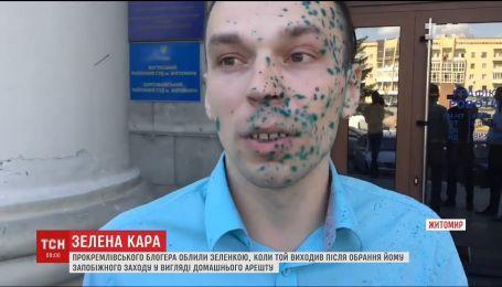 В Житомире облили зеленкой прокремлевского блогера
