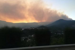 Под Ялтой загорелся лес: город затянуло дымом, а пожарные не могут добраться до огня