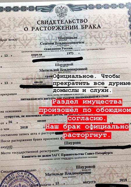 Свідоцтво про розірвання шлюбу Сергія Шнурова