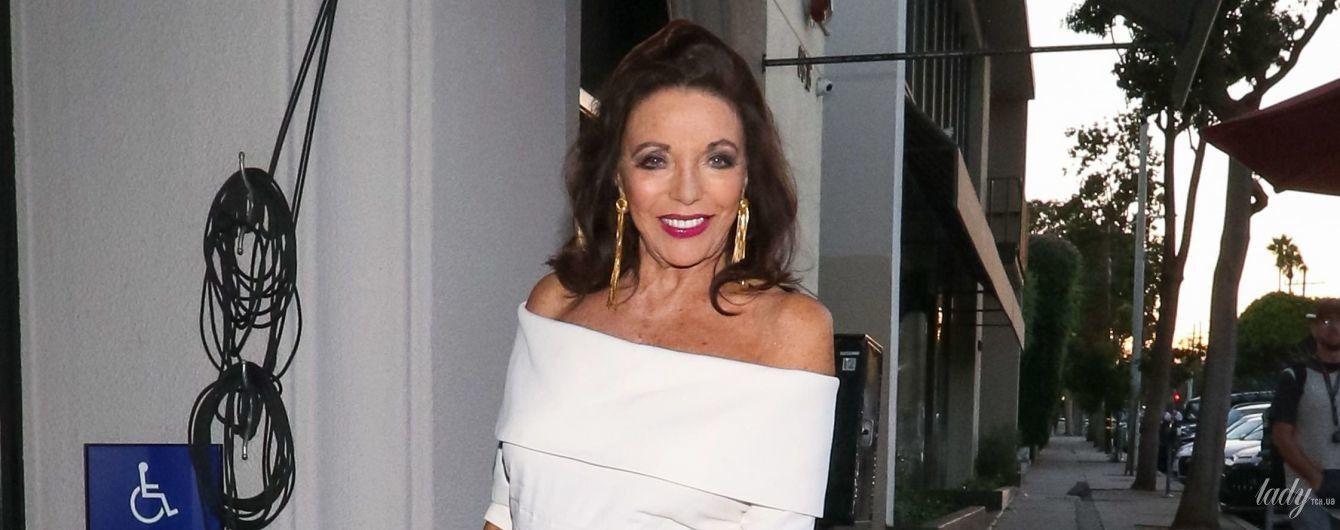85-летня Джоан Коллинз сходила на ужин в обтягивающем платье с обнаженными плечами