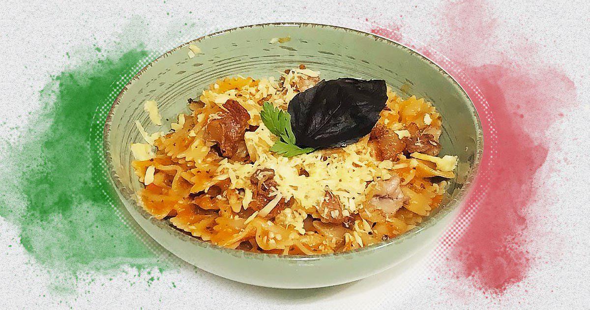 Вечеря на двох за 50 грн: паста з беконом та томатно-базиліковим соусом