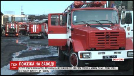 В Запорожье загорелось предприятие по переработке автомобильных шин