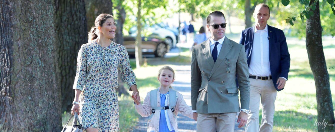 """У """"квітковій"""" сукні та на підборах: кронпринцеса Вікторія відвела доньку до школи"""