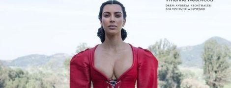 У сукні з корсетом: скромниця Кім Кардашян показала груди у новому фотосеті