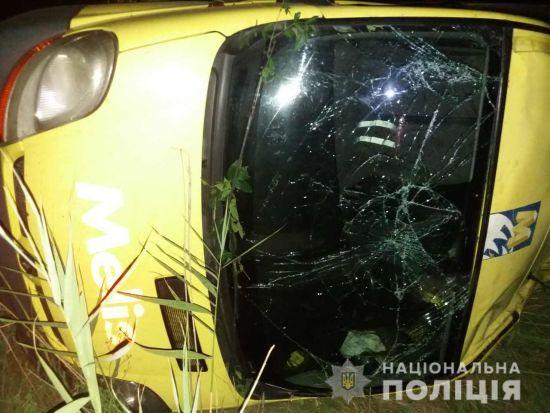 Під Миколаєвом мікроавтобус перекинувся у кювет, постраждали пасажири