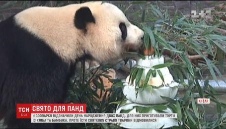 В Китайском зоопарке отметили день рождения сразу двух гигантских панд