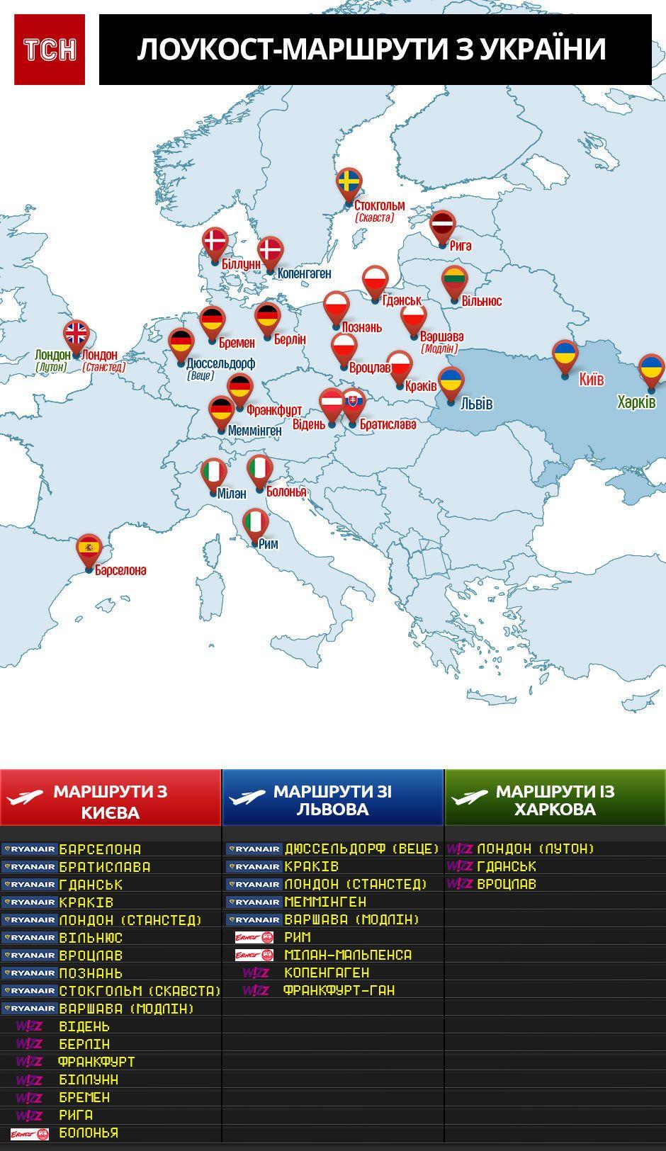 Нові маршрути лоукостерів з України. Інфографіка