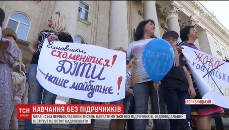 В Кропивницком родители первоклассников вышли на пикет под городской совет