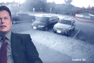 На камери потрапила Tesla, яка вилетіла із пагорба та потрапила у ДТП