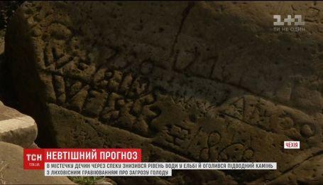"""Посуха в Чехії знизила рівень води в Ельбі та відкрила """"камінь голоду"""", що віщує лихо"""