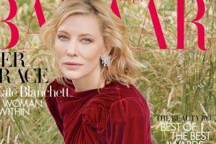 В бархатном платье и с легким макияжем: красивая Кейт Бланшетт снялась для глянца