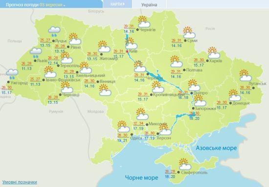 Новий тиждень розпочнеться спекою до 35 градусів. Прогноз погоди на 3 вересня