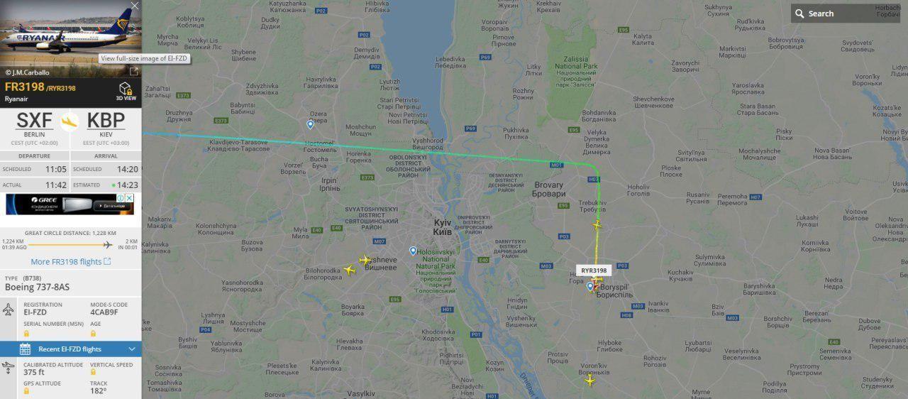 Приліт рейсу Ryanair до Києва