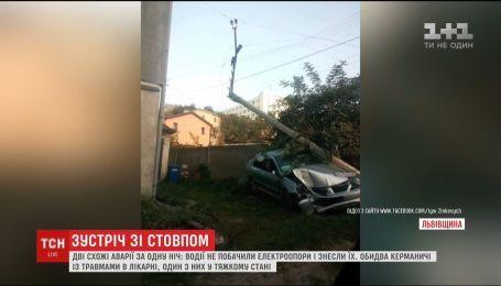 На Львовщине в двух похожих авариях водители снесли электроопоры