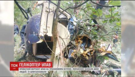На Трухановом острове в Киеве упал вертолет
