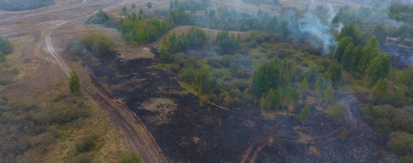 На Полтавщині другу добу масштабно горять торфовища
