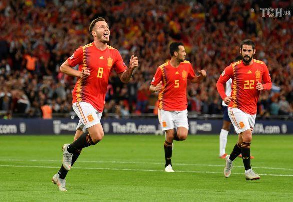 Сауль Ньігес забиває гол, Англія - Іспанія