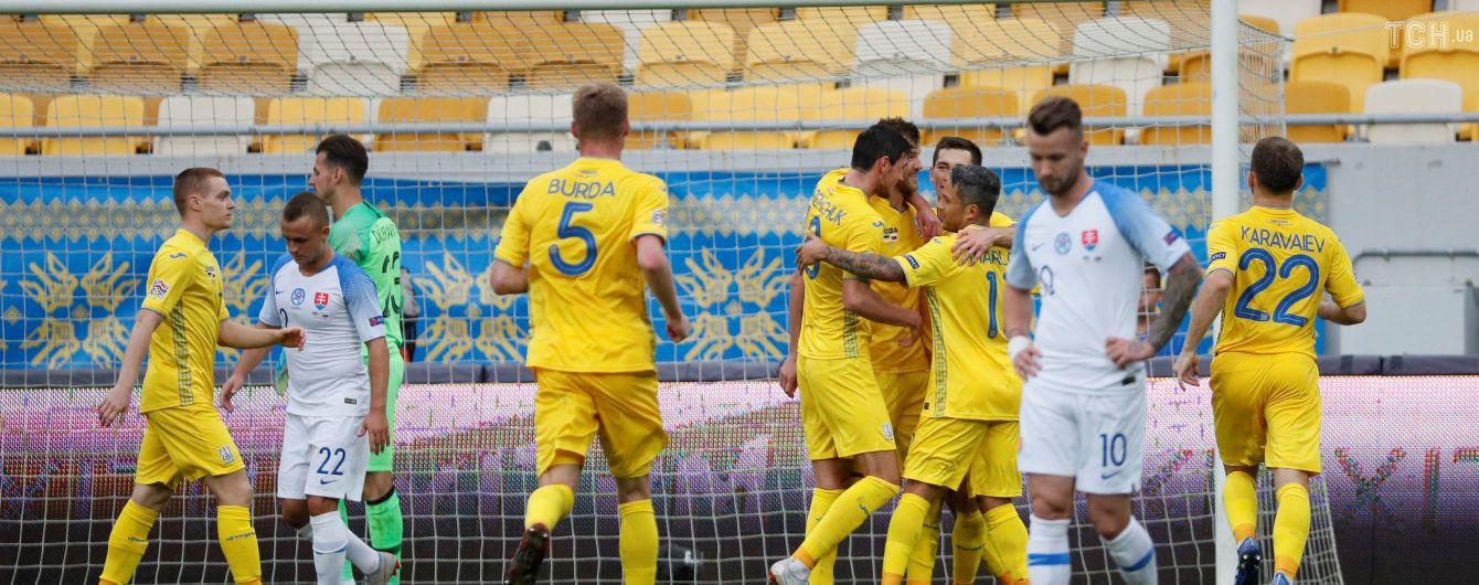 Сборная Украины при пустых трибунах благодаря пенальти переиграла Словакию