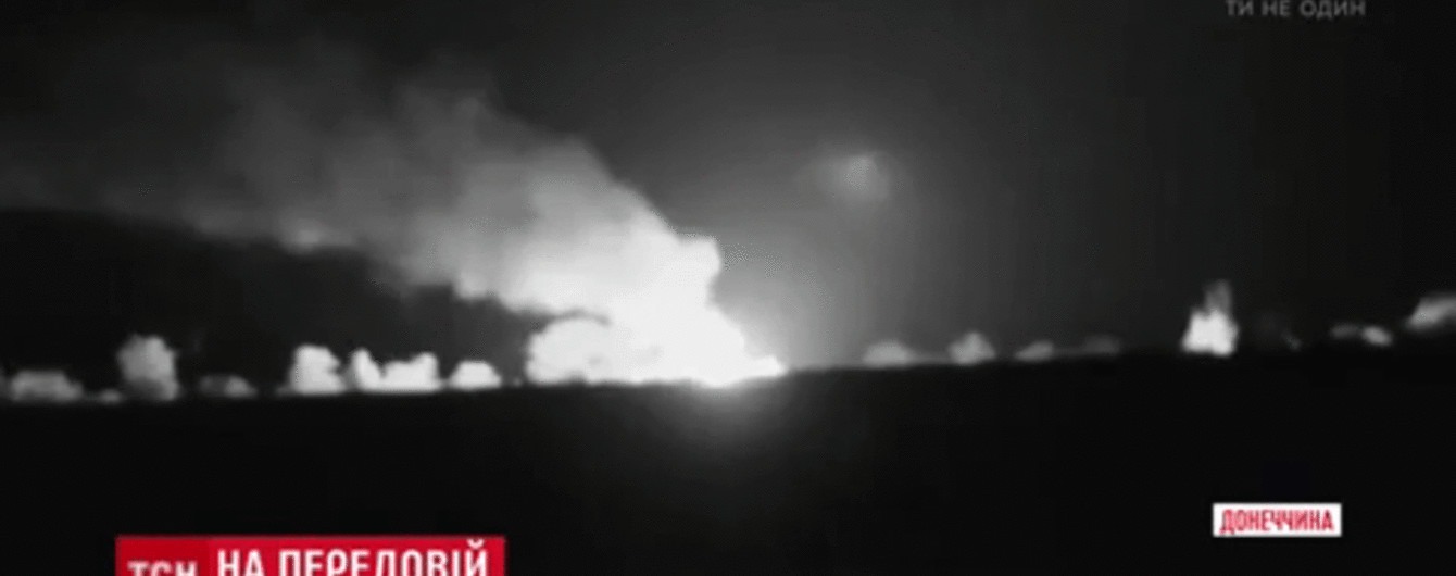 На Донбасі посеред ночі злетів у небо склад із боєприпасами бойовиків і вибухав до ранку