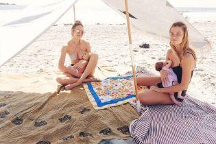 В бикини на пляже: Кэндис Свэйнпоул показала, как кормит грудью сына