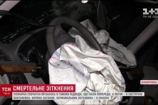 На Виннитчине Mercedes врезался в гужевую подводу, а после - в грузовик