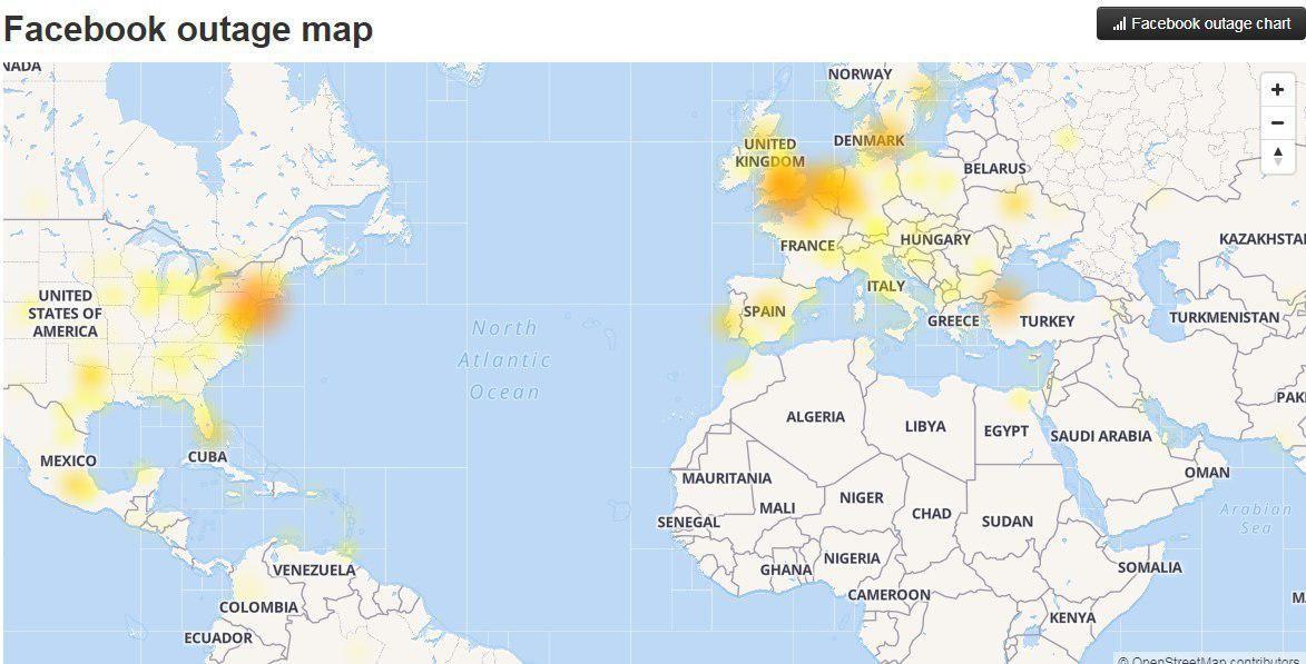 Facebook, несправність. регіони