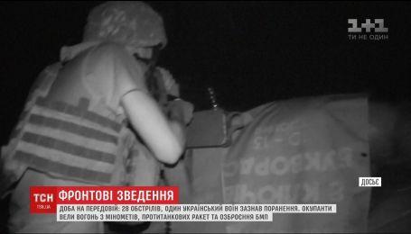 Сутки на передовой: боевики совершили 28 обстрелов, один украинский военный получил ранения
