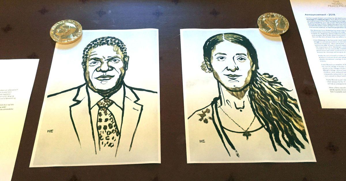 Лауреаты Нобелевской премии мира Надежда Мурад и Дэнис Муквеге