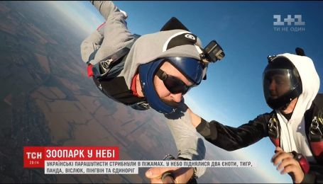 Українські парашутисти стрибнули з парашутами у костюмах тварин