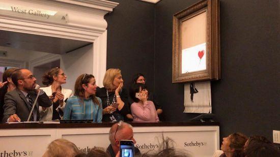 Скандальна самознищена картина Бенксі вперше з'явилася на виставці