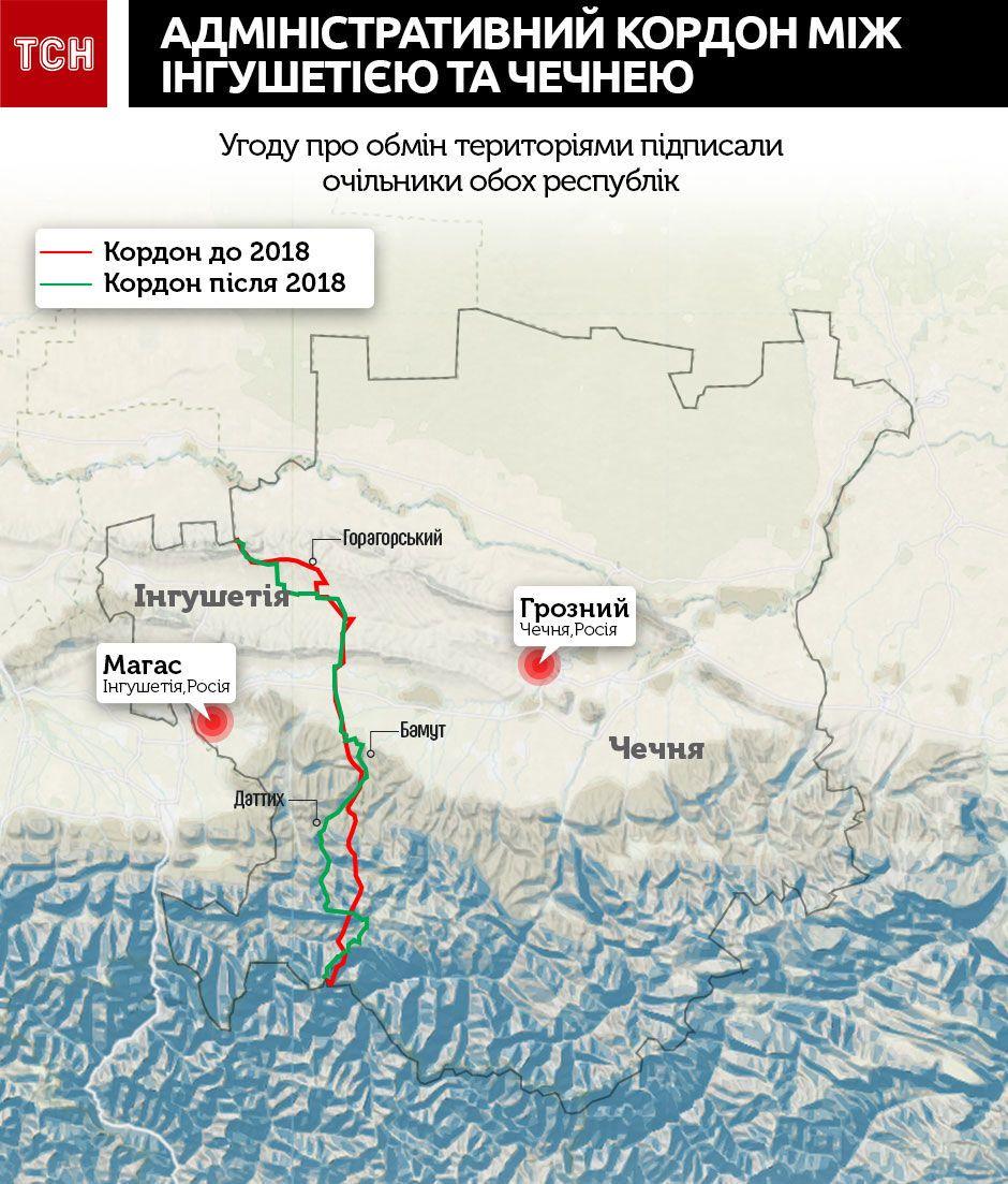 карта кордону між Інгушетією та Чечнею, інфографіка