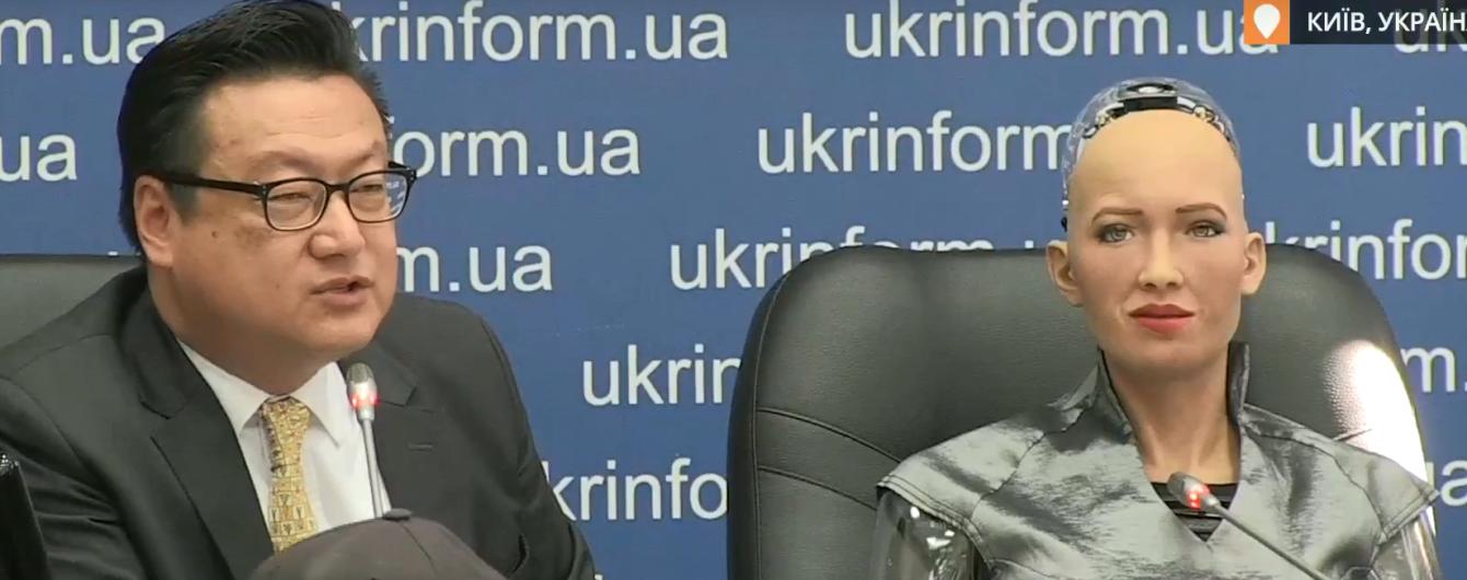 Революционное событие: при андроиде София подписали документ о развитии робототехники в Украине