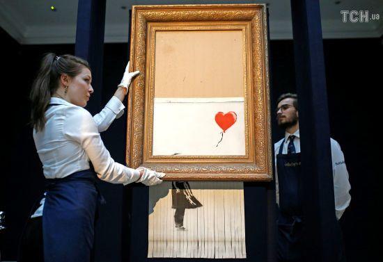 Картина, що підкорила світ. У Sotheby's виставили на показ самознищений малюнок Бенксі