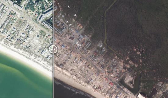 """Не залишив і сліду від будинків та зелені. Фото до та після нищівного """"шторму століття"""" у Флориді"""