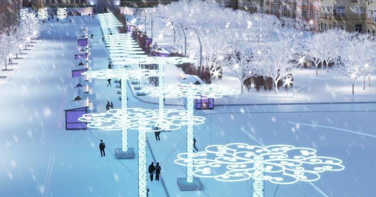 Проект різдявяно-новогоднего городка на Софийской площади в Киеве