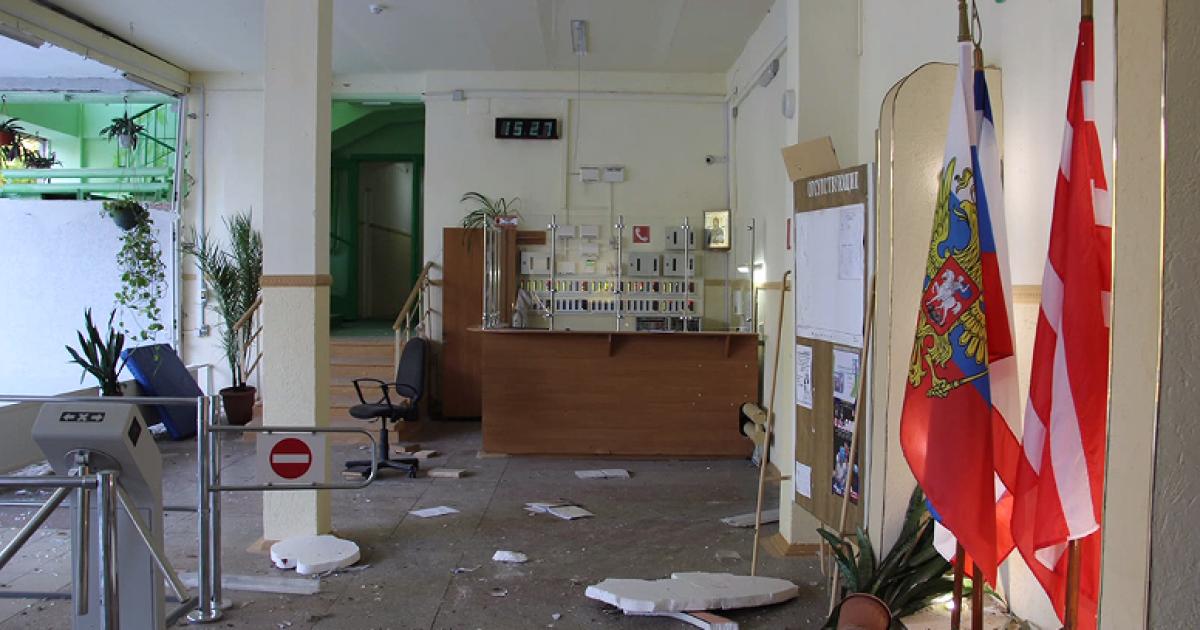Так выглядит колледж после взрывов и стрельбы @ Ruptly