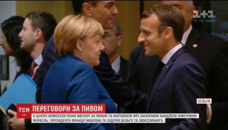 Неофициальные переговоры с пивом: Меркель и Макрона сходили в бар Брюсселе