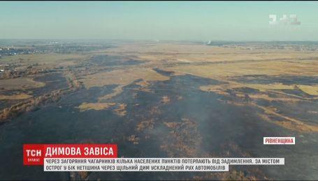 Жители сел в Ровенской области задыхаются из-за масштабного пожара сухой травы