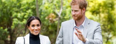 В скинни и полосатом пиджаке: новый выход беременной герцогини Сассекской