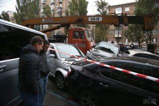 ДТП с 21 авто в центре Киева. Опубликовано видео момента столкновения автокрана