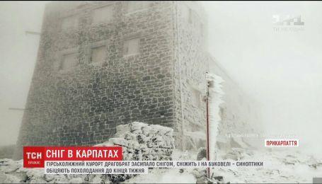 Обещанное похолодание: Карпаты засыпало снегом