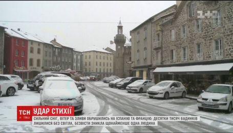 Францію та Іспанію засипало снігом