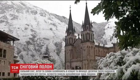 Сильний сніг, вітер і зливи накрили Францію та Іспанію