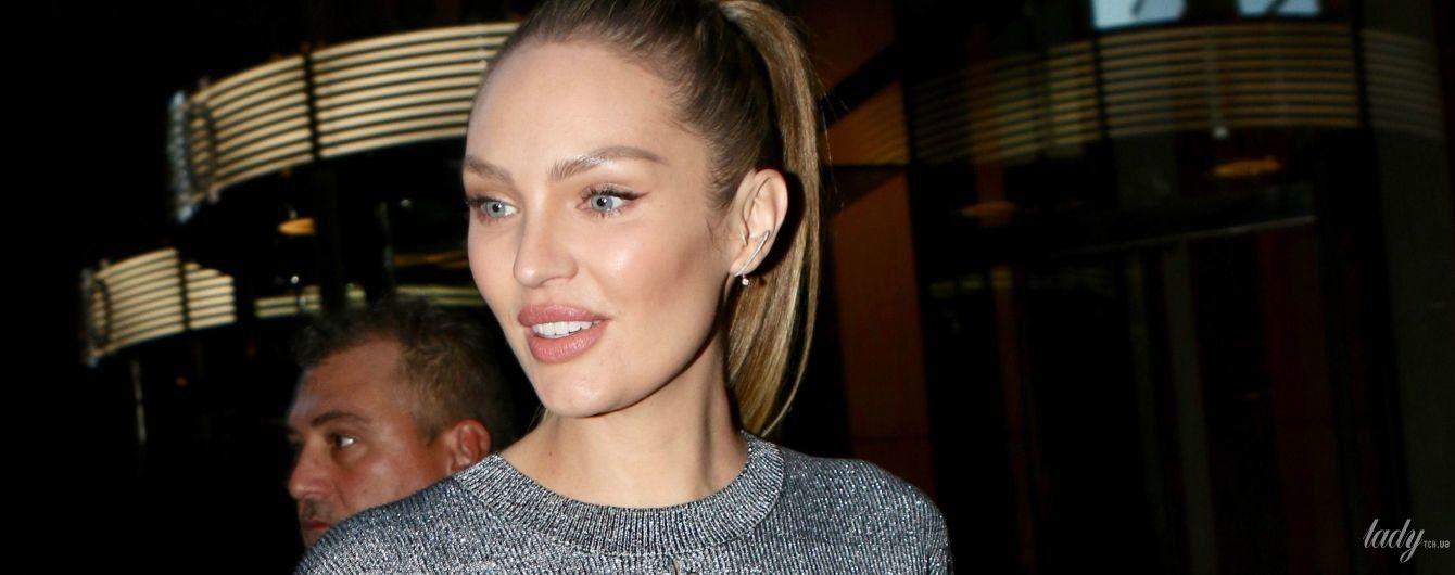 У шкіряних міні-шортах: ефектна Кендіс Свейнпоул сходила на примірку аутфіта для шоу Victoria's Secret