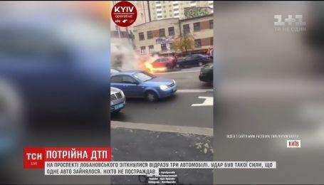 Унаслідок ДТП на столичному проспекті Лобановського зайнялася автівка