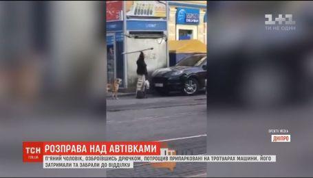 В Днепре мужчина с собакой устроил расправу над припаркованными авто
