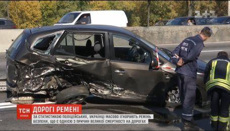 Майже половина загиблих на українських дорогах не користувалися ременями безпеки