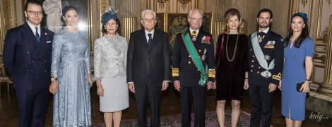 Красиві принцеси, ефектна королева Сільвія і перша леді Італії на прийомі в Королівському палаці